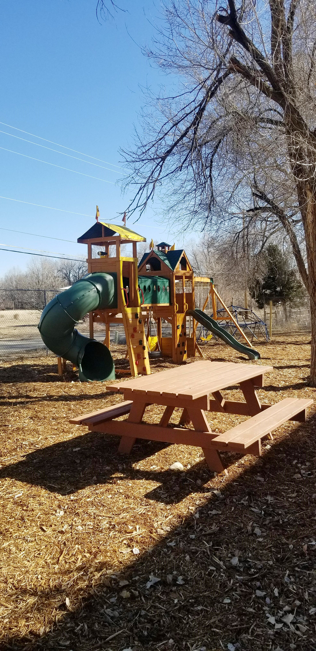 Outdoor playground at Childcare Center and daycare at New Beginnings