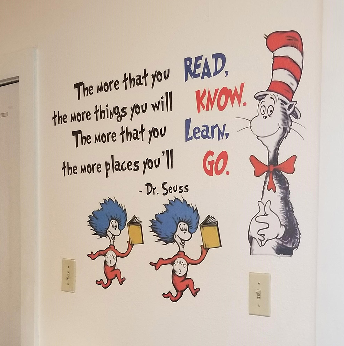 Dr. Suess and Cat in the Hat on the wall of New Beginnings Childcare Center in Farmington, NM